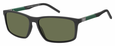 Tommy Hilfiger - Th 1650 S Matte Black Sunglasses / Green Lenses