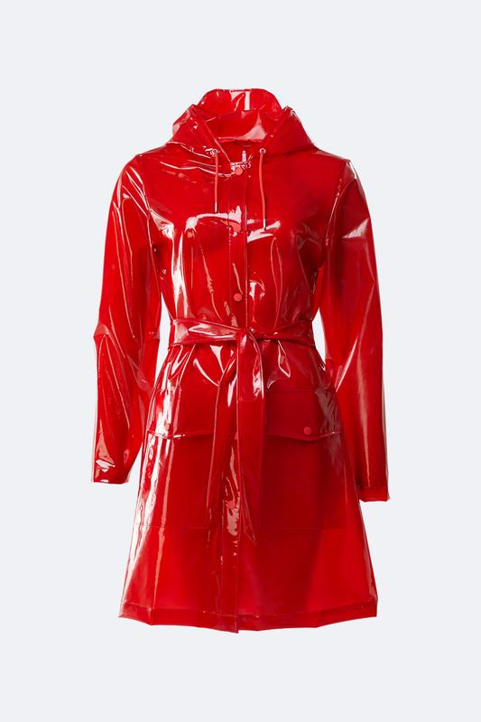 Rains - Women's 1825 Glossy Red Transparent Belt Jacket