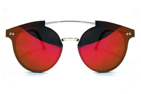 Spitfire - Trip Hop Silver Sunglasses, Red Mirror Lenses