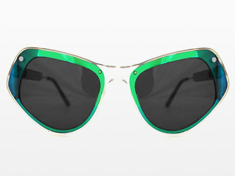 Spitfire - Ultra 1 Clear Sunglasses, Green Mirror & Black Mirror Lenses