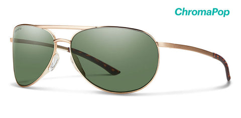 Smith - Serpico Slim 2 Matte Gold Sunglasses / ChromaPop Polarized Gray Green Lenses