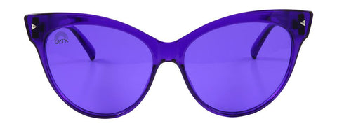 RainbowOPTX - Cat Eye Transparent Indigo Sunglasses / Indigo Lenses