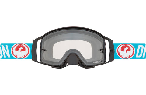 Dragon - NFX2 Flash Blue MX Goggles / Injected Blue Steel + 10 Pack Tear Offs + Lens Shield Lenses