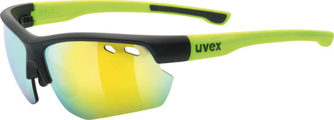 UVEX Sport - Sportstyle 115 Black Matte Yellow Sunglasses / Silver + Orange Lenses