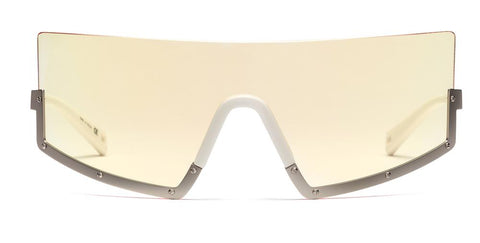 Westward Leaning - STUN 03 Matte Silver Sunglasses / Ultraviolet Yellow Tint Lenses