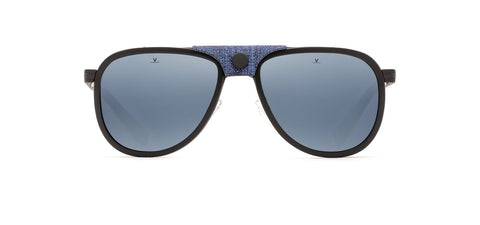 Vuarnet - Glacier 1315 56mm Black Flag Sunglasses / Blue Polarized Lenses