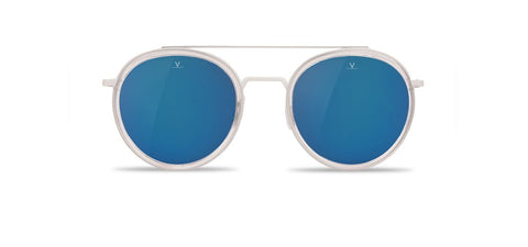 Vuarnet - Edge 1613 Transparent Matte Sunglasses / Grey Polarized Blue Flash Lenses