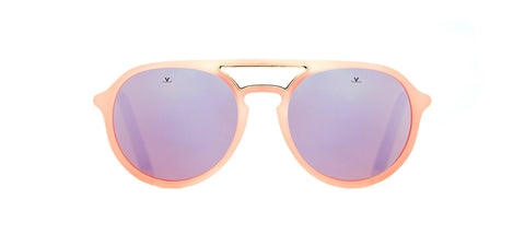 Vuarnet - Ice 1709 Matte Pink Black Gold Sunglasses / Pure Brown Pink Flash Lenses