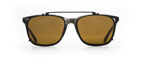 Vuarnet - Clip On 1801 Horn Matte Black Sunglasses / Pure Brown Lenses