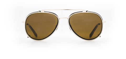 Vuarnet - Clip On 1805 Matte Black Gold Sunglasses / Pure Brown Lenses