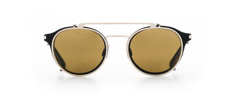 Vuarnet - Clip On 1806 Matte Black Gold Sunglasses / Pure Brown Lenses
