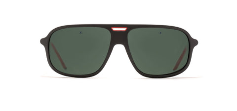 Vuarnet - Ice 1811 56mm Matte Black Red Sunglasses / Grey Polarized Lenses