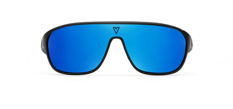 Vuarnet - 180 1929 Matte Black Grey Sunglasses / Blue Flash Polarized Lenses