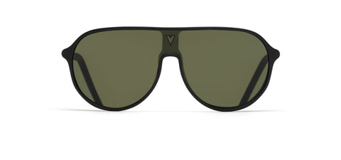 Vuarnet - 180 1930 Matte Black Sunglasses / Pure Grey Green Lenses