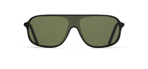 Vuarnet - 180 1931 Matte Black Sunglasses / Pure Grey Green Lenses