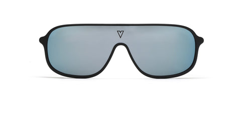 VonZipper - Kickstand Black Satin Sunglasses / Wildlife Blue Chrome Polarized Lenses