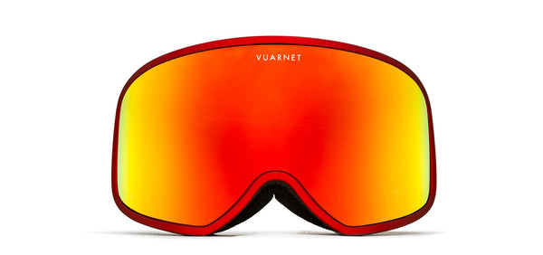 Vuarnet -  Metalized Matte Red Snow Goggles / Grey Red Flash Lenses