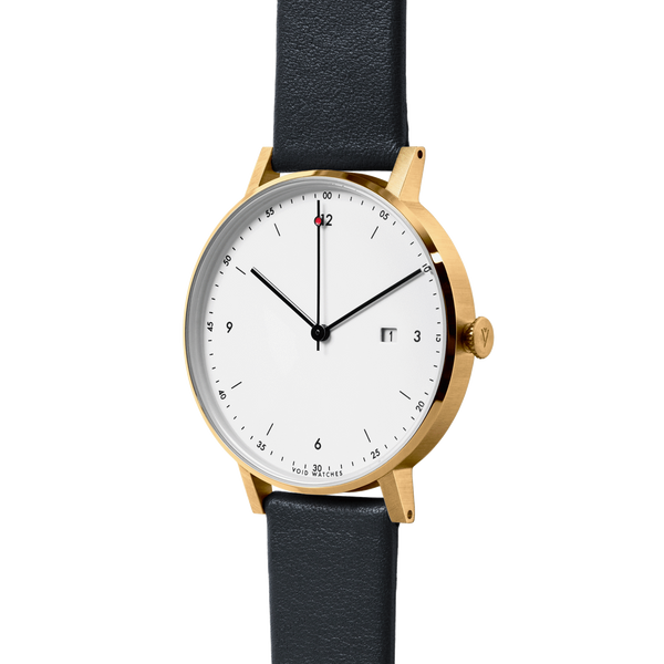 Void Watches - PKG01 Gold Round Date Black Leather Strap White Dial Classic Date Watch