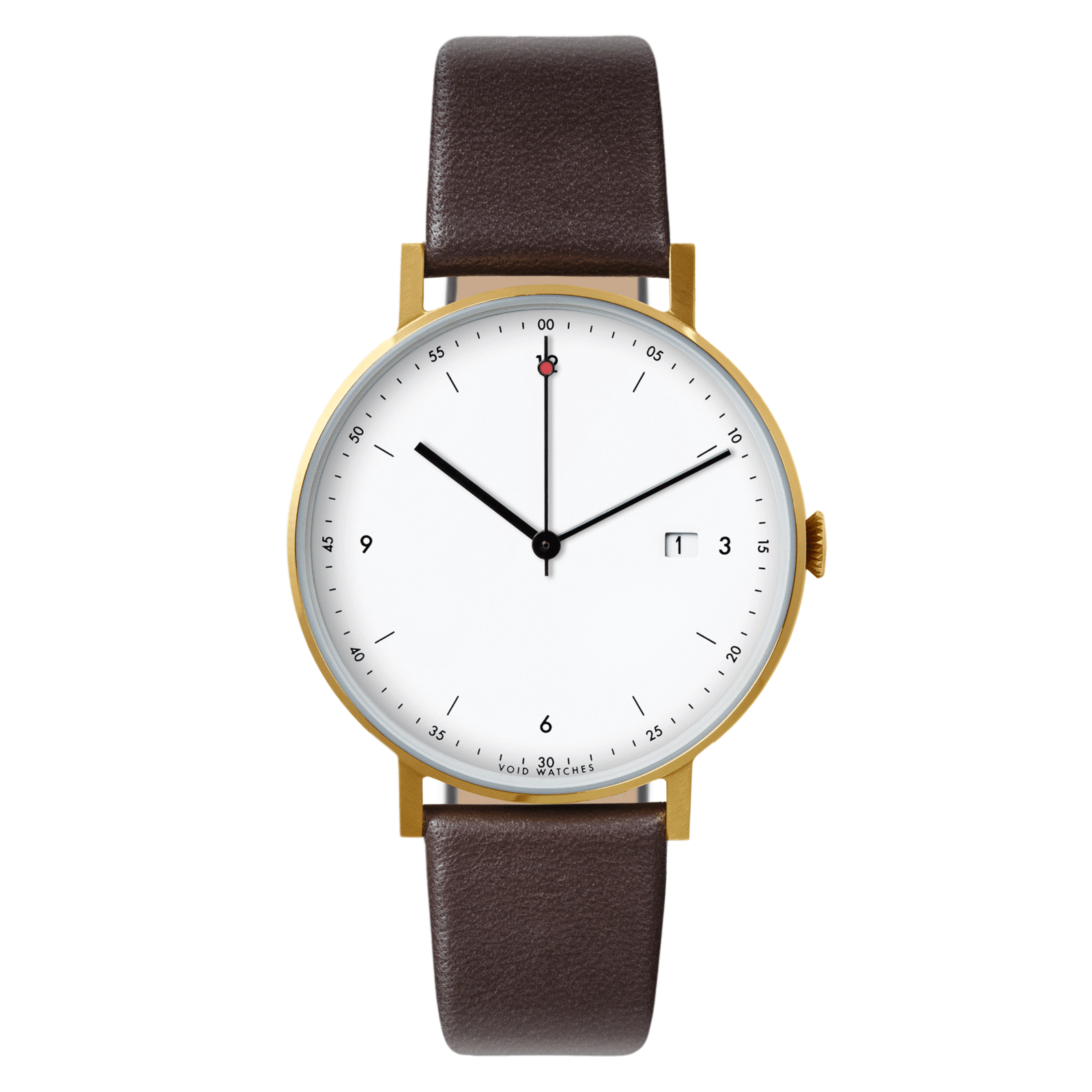 Void Watches - PKG01 Gold Round Date Dark Brown Leather Strap White Dial Classic Date Watch