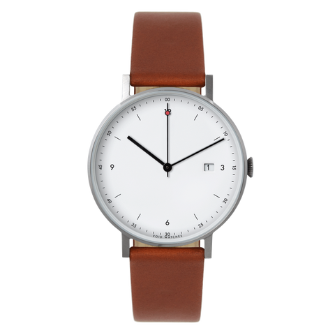 Void Watches - PKG01 Silver Round Date Light Brown Leather Strap White Dial Classic Date Watch