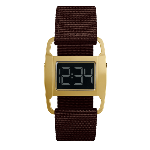 Void Watches - PXR5 Polished Gold Case Brown Nylon Strap Digital Wristwatch