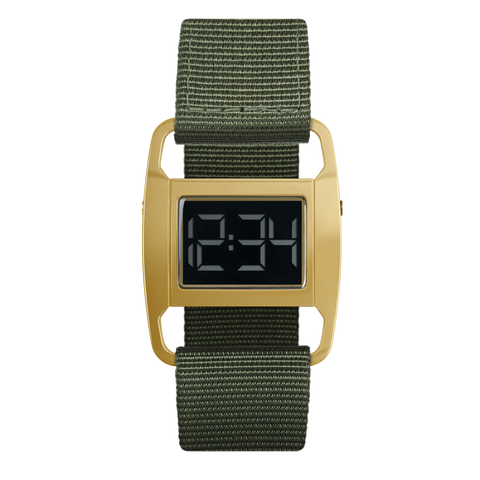 Void Watches - PXR5 Polished Gold Case Olive Nylon Strap Digital Wristwatch