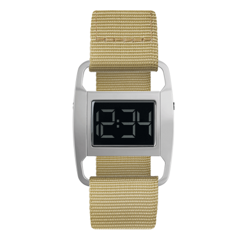 Void Watches - PXR5 Polished Silver Case Yellow Ochre Nylon Strap Digital Wristwatch