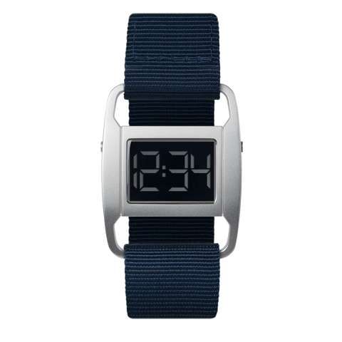 Void Watches - PXR5 Matte Silver Case Navy Nylon Strap Digital Wristwatch