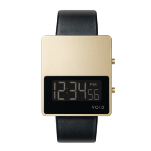 Void Watches - V01MKII Matte Gold LCD Black Leather Strap Gold Buckle Digital Wristwatch