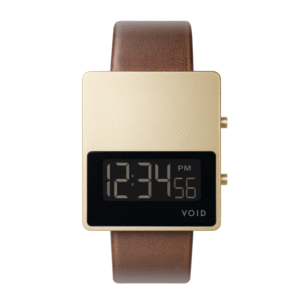 Void Watches - V01MKII Matte Gold LCD Light Brown Leather Strap Gold Buckle Digital Wristwatch