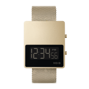 Void Watches - V01MKII Matte Gold LCD Gold Milanese Metal Bracelet Digital Wristwatch