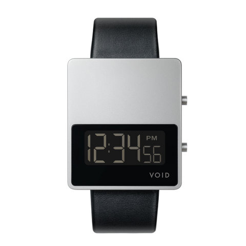 Void Watches - V01MKII Matte Silver LCD Black Leather Strap Silver Buckle Digital Wristwatch