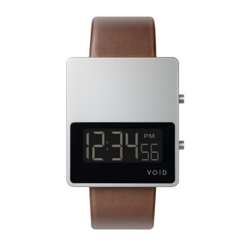 Void Watches - V01MKII Matte Silver LCD Light Brown Leather Strap Silver Buckle Digital Wristwatch