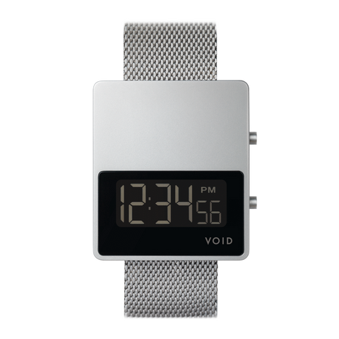 Void Watches - V01MKII Matte Silver LCD Silver Milanese Metal Bracelet Digital Wristwatch
