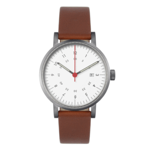 Void Watches - V03D Brushed Round Date Light Brown Leather Strap White Dial Analogue Date Watch