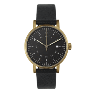 Void Watches - V03D Gold Round Date Black Leather Strap Black Dial Analogue Date Watch