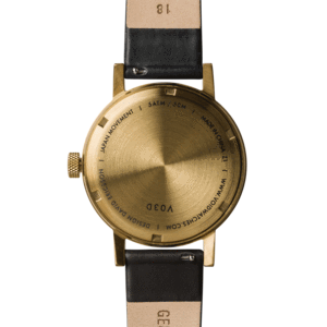 Void Watches - V03D Gold Round Date Black Leather Strap White Dial Analogue Date Watch