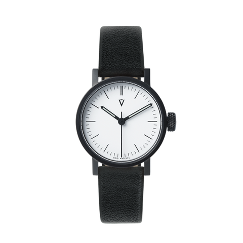 Void Watches - V03P Satin Black Round Petite Black Leather Strap White Dial Petite Analogue Watch