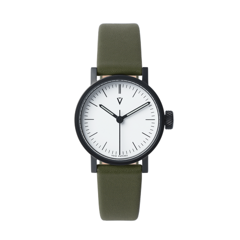 Void Watches - V03P Satin Black Round Petite Olive Leather Strap White Dial Petite Analogue Watch