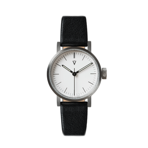 Void Watches - V03P Brushed Silver Round Petite Black Leather Strap White Dial Petite Analogue Watch