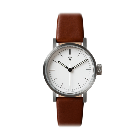 Void Watches - V03P Brushed Silver Round Petite Light Brown Leather Strap White Dial Complete Watch
