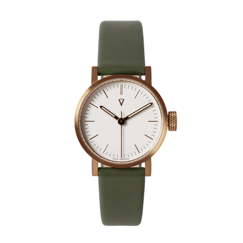 Void Watches - V03P Copper Round Petite Olive Green Pattern Strap White Dial Petite Analogue Watch