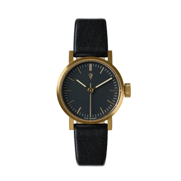 Void Watches - V03P Brushed Gold Round Petite Black Leather Strap Black Dial Petite Analogue Watch