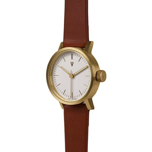 Void Watches - V03P Brushed Gold Round Petite Light Brown Leather Strap White Dial Petite Analogue Watch