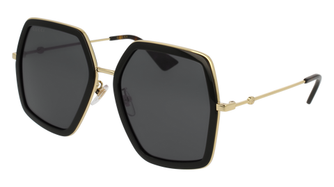 Gucci GG0106S-001 Black Gold Sunglasses / Grey Lenses