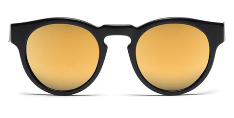 Westward Leaning - Voyager 01 Polished Black Acetate Sunglasses / Super Gold Mirror Lenses