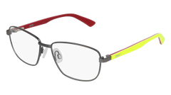 Puma - PJ0013O Junior Ruthenium + Yellow Eyeglasses / Demo Lenses