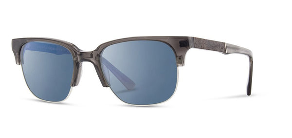 Shwood - Newport 52mm Charcoal Sunglasses / Blue Flash Polarized Lenses
