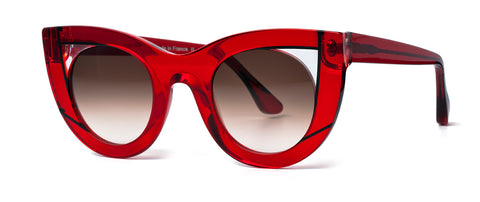 Thierry Lasry - Wavvvy Translucent Red Clear Sunglasses / Brown Gradient Lenses