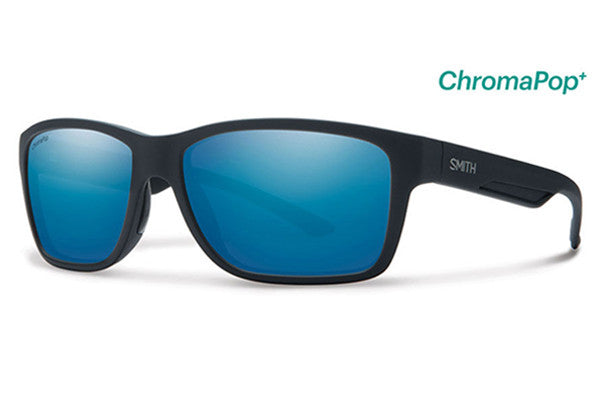 Smith - Wolcott Matte Black Sunglasses, ChromaPop+ Polarized Blue Mirror Lenses